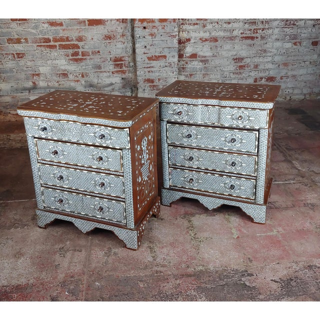 Syrian Beautiful Mother-Of-Pearl Inlay Chests Nightstands - A Pair For Sale - Image 11 of 11