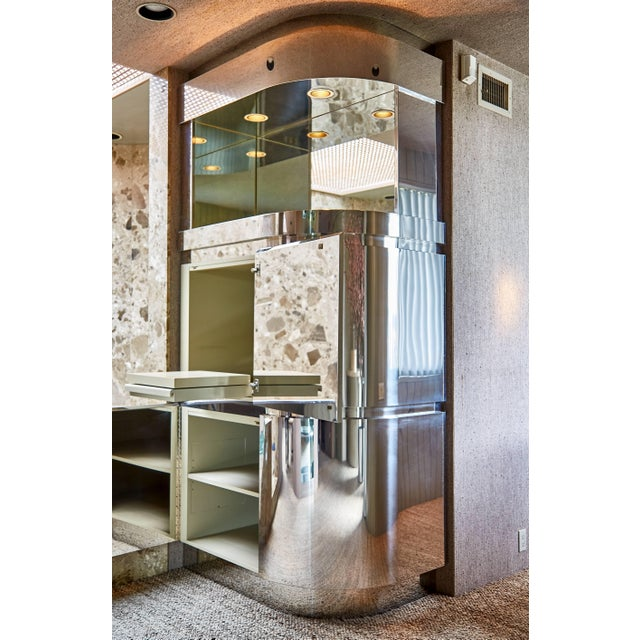 Mid-Century Modern Custom Large Chrome Cabinet by Steve Chase and Philip Socola, Circa 1980 For Sale - Image 3 of 6