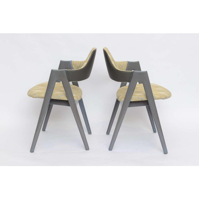 1960s Scissor Design Vintage Sidechairs in Zigzag Fabric For Sale - Image 5 of 10