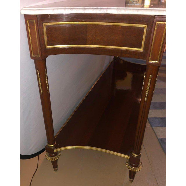 Pair Marble Top Russian Neoclassical Consoles W Concave Sides & Bronze Mounts For Sale - Image 9 of 12