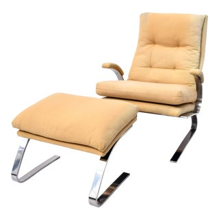Milo Baughman for Thayer Coggin Chrome Lounge Chair and Ottoman, Usa, 1970s For Sale