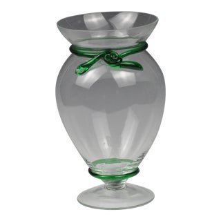 Vintage Hand-Blown Glass Vase With Emerald Green Band & Bow For Sale