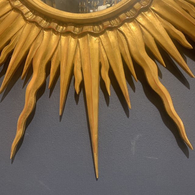 Glass Gold Leaf Sunburst With Convex Mirror For Sale - Image 7 of 13