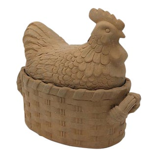 Vintage French Bisque Terra Cotta Hen Tureen For Sale