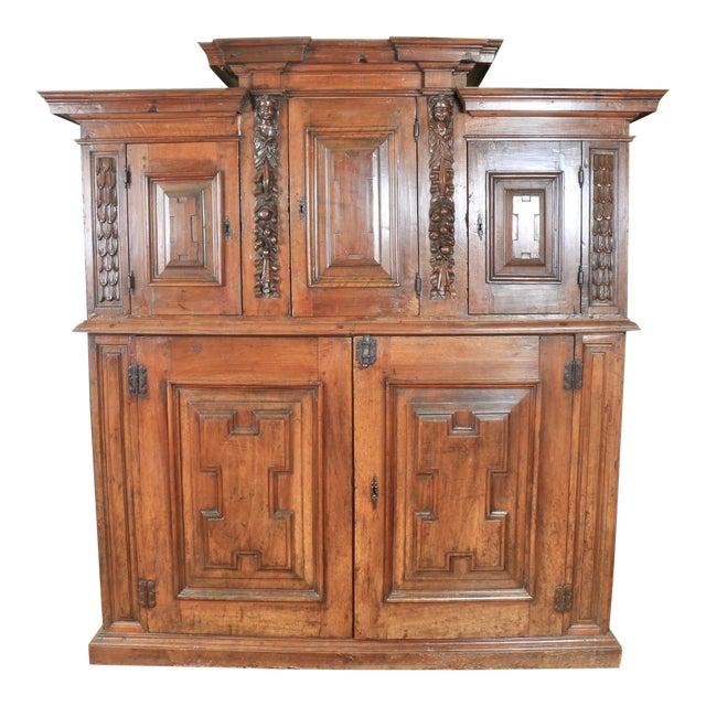 Late 1800's Rustic 2 Piece Italian Cabinet For Sale