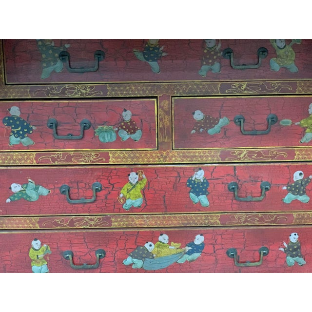 Red 20th Century Chinoiserie Red Lacquered Bureau Bookcase For Sale - Image 8 of 13