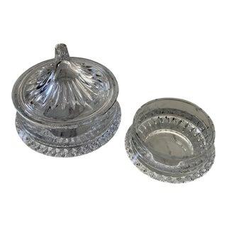 Vintage Decorative Glass Candy Dish Set - 2 Piece Set For Sale
