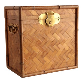 Asian Faux Bamboo Storage Crate For Sale