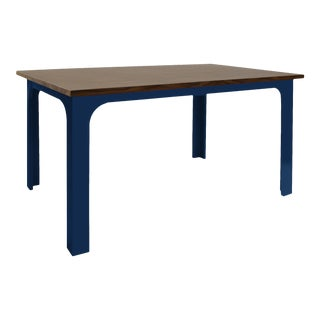 """Craft Kids 42"""" Table in Walnut With Deep Blue Finish Accent For Sale"""