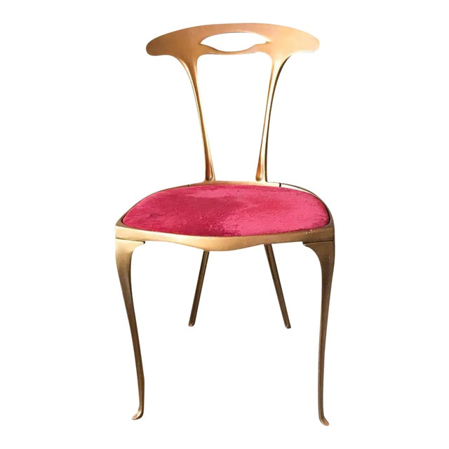 Vintage Hollywood Regency Gilt Metal Chair For Sale