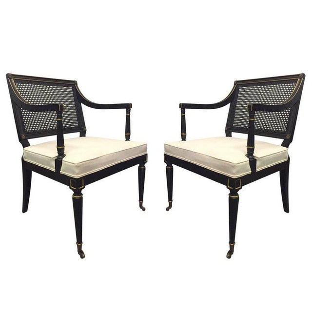 Pair of Maison Jansen Style Cane Armchairs For Sale In New York - Image 6 of 6