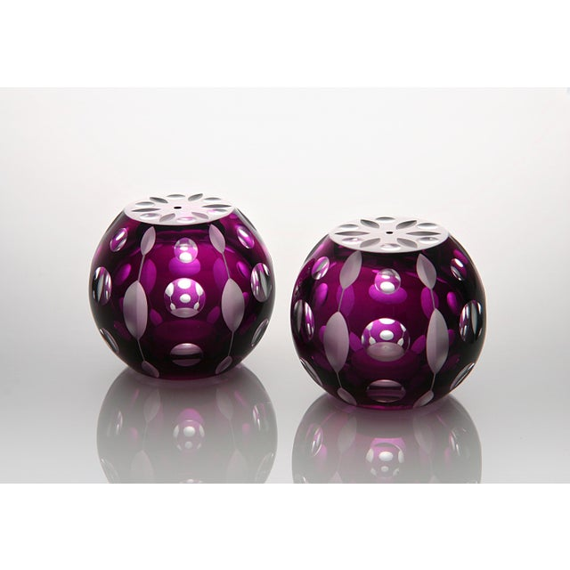 Traditional Perla Salt and Pepper Shaker, Purple For Sale - Image 3 of 3