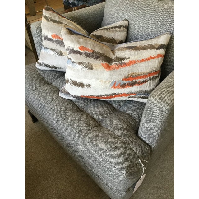 Luxurious Pair of Donghia Rubelli Silver Copper Tiger Striped Wave Velvet Lumbar Pillows. Each meticulously made knife-...