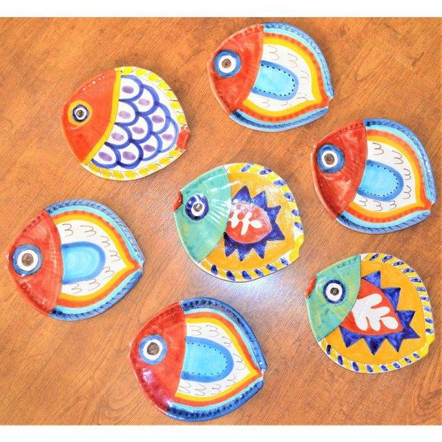1980s Boho Chic DeSimone Terra Cotta Fish Plate For Sale - Image 13 of 13