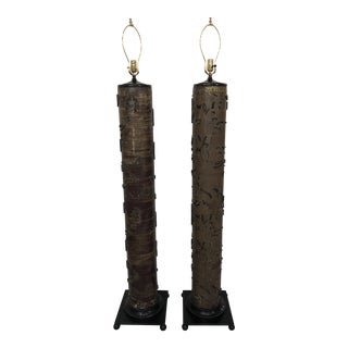 Late 20th Century Fabric/Wallpaper Printing Roller Floor Lamps - a Pair For Sale