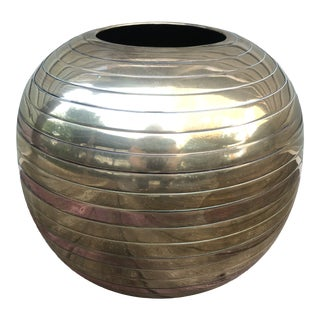 Tomasso Barbi Style Round Two Tone Brass Planter For Sale