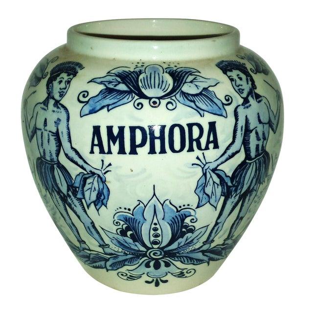 "Blue Delft ""Amphora"" Hand Painted Porcelain Jar For Sale"