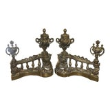 Image of Antique Early 19c French Gilt Bronze Chenets - a Pair For Sale