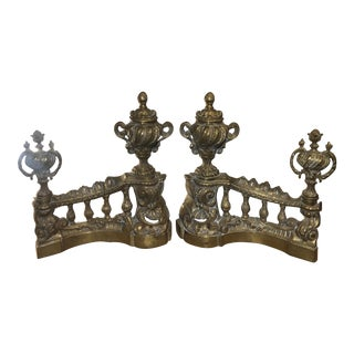 Antique Early 19c French Gilt Bronze Chenets - a Pair For Sale