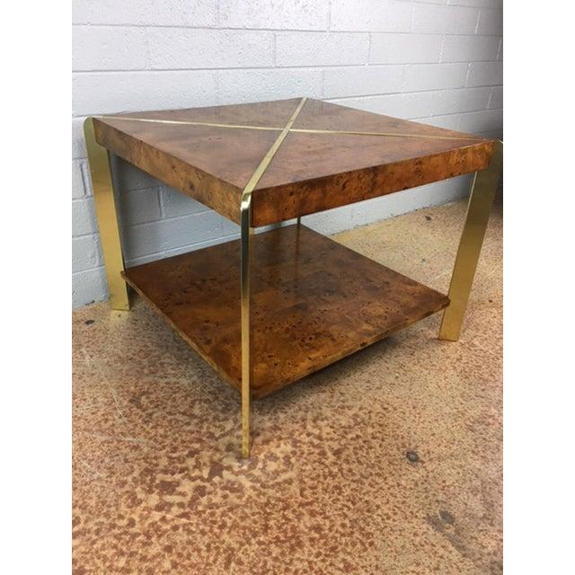 Milo Baughman Burlwood Side Table - Image 4 of 8