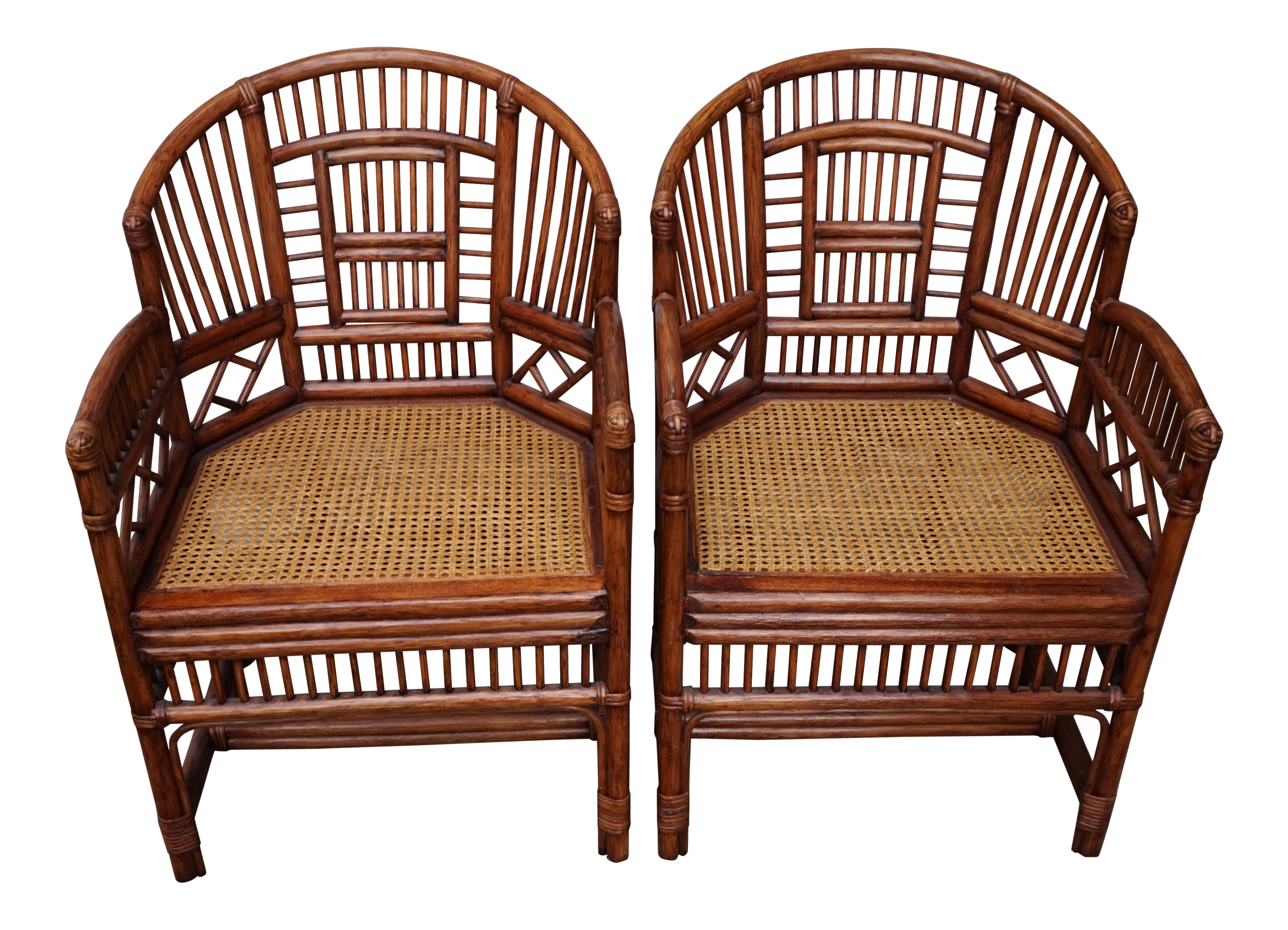 Chinese Chippendale Bamboo Brighton Pavilion Chairs   A Pair
