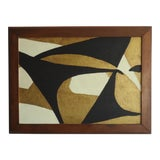 Image of 1970s Abstract Mid-Century Modernist Black & Gold Acrylic Painting For Sale