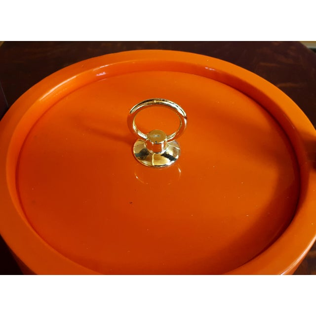 Vintage Orange Vinyl Ice Bucket - Image 3 of 4