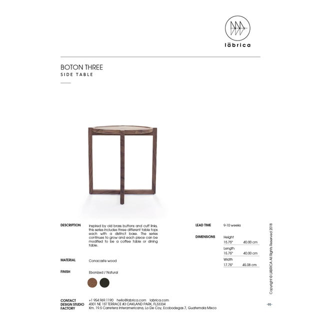 Boton Three Side Table, Conacaste Solid Wood For Sale In Miami - Image 6 of 7