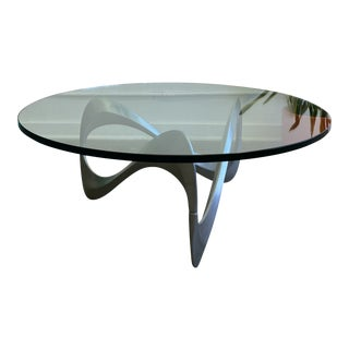 Mid Century Modern Aluminum & Glass Coffee Table For Sale