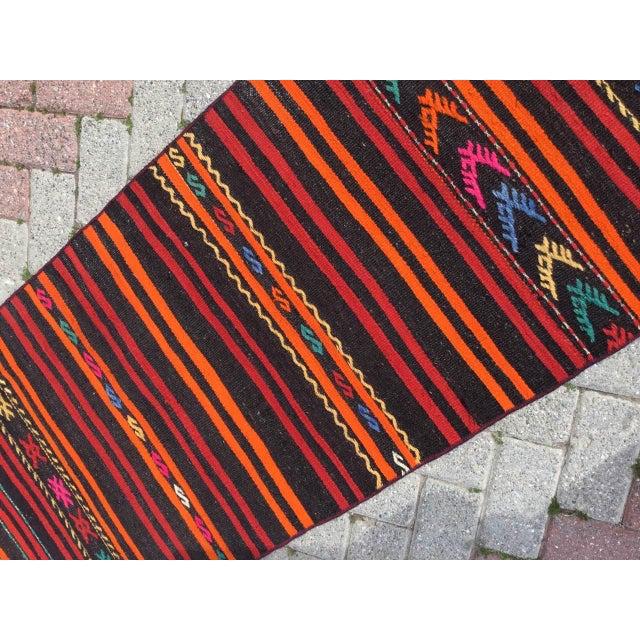 Textile Vintage Striped Turkish Kilim Runner Rug For Sale - Image 7 of 10