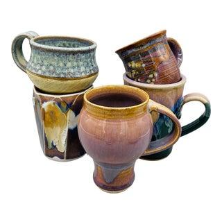 Vintage Mismatched Studio Pottery Mugs- Set of 5 For Sale