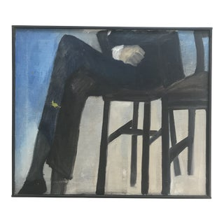 Mid-Century Oil on Canvas Seated Man R. Anderson For Sale