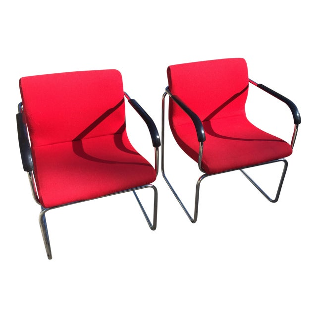 Upholstered Chrome Side Chairs- A Pair For Sale