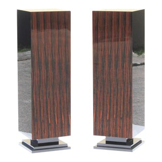 Monumental Pair of French Art Deco Exotic Macassar Ebony Pedestals Circa 1940s. For Sale