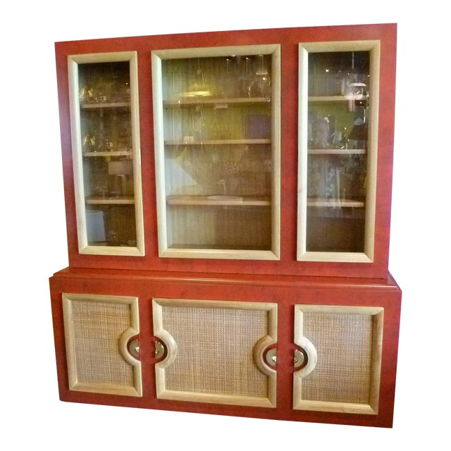 1940s Antique Paul Laszlo Style Faux Red Leather Finished Buffet / Breakfront For Sale