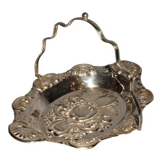 Late 19th Century Victorian Silverplate Bride's Basket For Sale