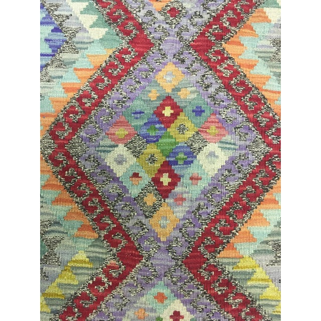 """Hand Knotted Traditional Design Uzbak Wool Kilim Rug-3'11"""" X 6'0"""" For Sale In Los Angeles - Image 6 of 8"""