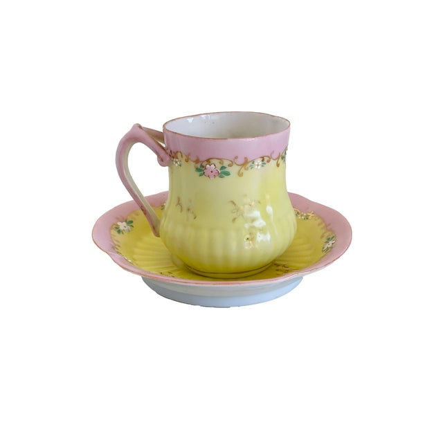 Ceramic Antique Pink and Yellow Demitasse Tea Cup and Saucer For Sale - Image 7 of 7
