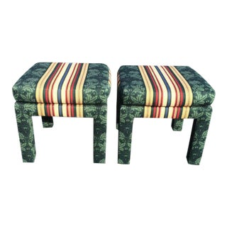 Square Upholstered Parsons Stools - a Pair For Sale