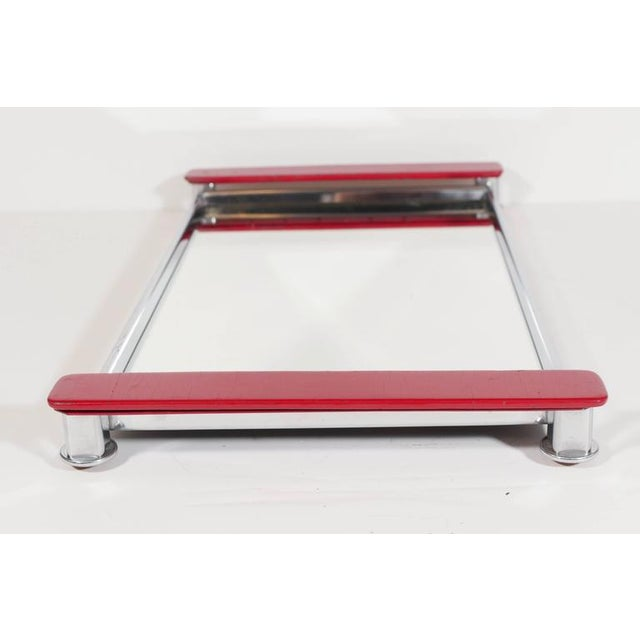 Art Deco Mirrored Bar Tray with Red Lacquered Handles For Sale In New York - Image 6 of 11