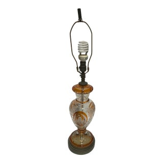 Bohemian Amber to Clear Crystal Cut Floral and Grape Pattern Table Lamp For Sale