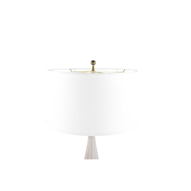 Speckled porcelain and brass table lamp by Gerald Thurston for Lightolier. New white linen shade included. Newly rewired,...
