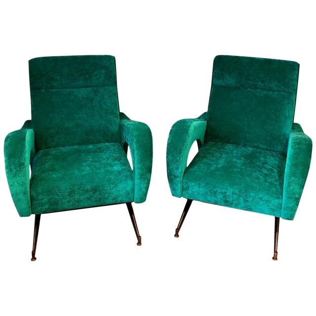 Italian 1950s Velvet Chairs-A Pair For Sale