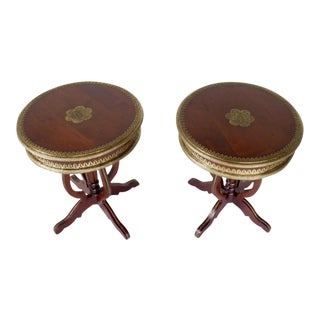Asian Brass Inlaid Pedestal Tables - A Pair For Sale