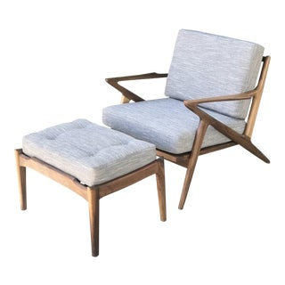 Custom Mid Century Z Chair and Ottoman in Gray