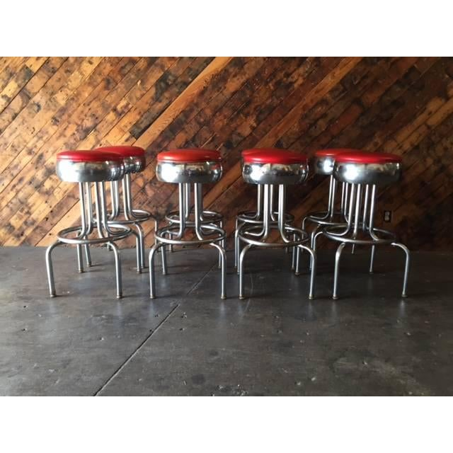 Mid-Century Chrome Diner Bar Stools- Set of 8 - Image 3 of 8