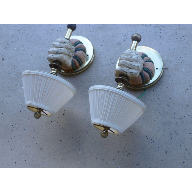 1970s 1970s Mid-Century Modern Carved Wood Sconces - a Pair For Sale - Image 5 of 7