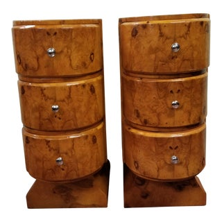 Vintage Birdseye Maple Art Deco Nightstands/Side Tables - a Pair For Sale
