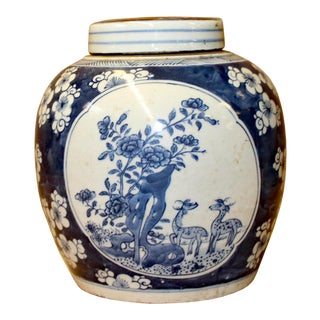 Chinese Blue White Ceramic Flowers Birds Graphic Ginger Jar For Sale