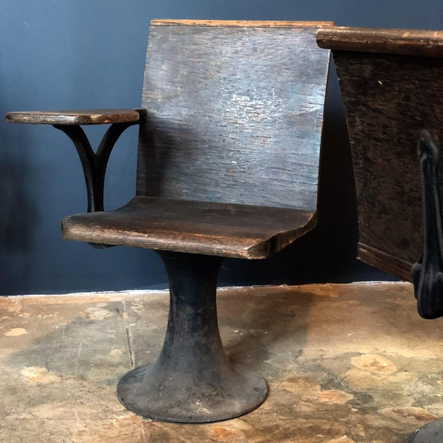 Industrial Pair of Vintage Industrial 1920s School Chairs For Sale - Image 3 of 9